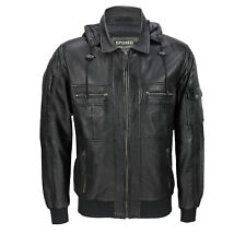 Mens Black Real Soft Leather Smart Casual Biker Style Collar Bomber Hood Jacket