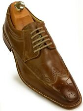 Giorgio Brutini Rust High Gloss Leather Lace Up Wing Tip Mens Oxford Dress Shoes
