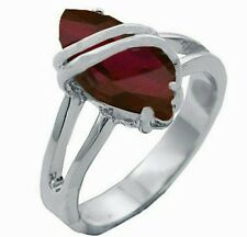 Silver Cocktail Ring Rhodium Plated Red Ruby Cubic Zirconia Sizes 4,5,6,10 USA