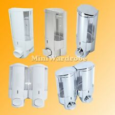 Pump Type Shampoo Soap Dispenser Wall Mount White Gray Chrome 1 or 2 Chamber