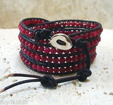 Brazil Ruby* 4mm Faceted Gemstone Handmade Beaded Leather 4 Wrap Bracelet