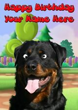 Rottweiler Occasion Personalised Greeting Card Birthday Fathers Mum Nan PIDE5