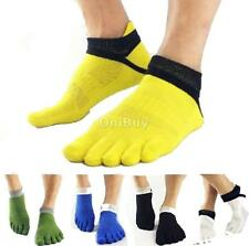 PAIR of MENS Comfortable Cotton Low Cut Sports Five Fingers Toe Ankle Crew Socks