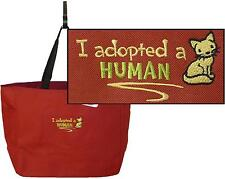 I Adopted a Human Tote Bag Kitty Cat Adoption Rescue Kitten Custom Embroidered