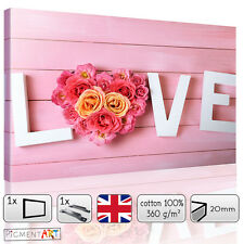 LARGE PINK ROSES FLOWERS FLORAL LOVE PINK WOODEN CANVAS WALL ART PRINTS PICTURES