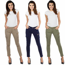 New Ladies Womens Slim Skinny Fitted Stretch Combat Jeans Cargo Pants Trousers