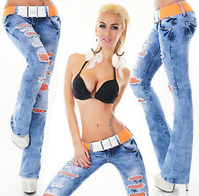 Sexy Women's Hipster Bootcut Jeans Lace Blue Jeans Matching Belt Size 6-14