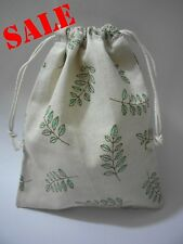 Cotton Linen Drawstring Small Bag Storage Travel Packaging Pouch Purse-Leaves 2