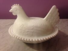 Indiana  VINTAGE White Glass Hen  on Nest Covered Candy/Nut Dish         wr