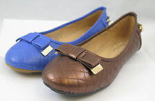 New Women's Brown Blue Shiny Faux Patent Leather Flats Slip On Bow Ballet Shoes