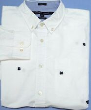 TOMMY HILFIGER Mens Classic Fit Long Sleeve White Button Down Shirt size Large