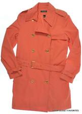 $249 RALPH LAUREN Womens L or XL Double Breasted Trench Coat Belted Coral Orange