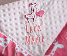 PERSONALIZED BABY BLANKET Giraffe baby girl shower gift Premium Plush & Minky
