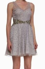 NWT Womens 8 AIDAN MATTOX Silver Sequin Beaded Illusion A Line V Neck Tank Dress