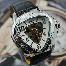 WINNER Automatic Stainless Steel Case Leather Strap Triangle Face Skeleton Watch