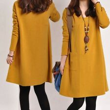Women Ladies Long Sleeve Loose Dress Cotton Blend V Neck Casual Long Blouse B85