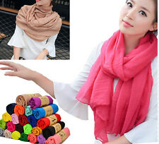 2016 New Womens Long Big Crinkle Voile Soft Scarf Wrap Shawl Stole ju