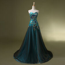 Formal Long Peacock Split Evening Party Dress Wedding Ball Prom Bridesmaid Gowns
