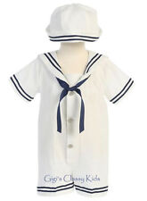 New Baby Boys White Seersucker Cotton Sailor Nautical Romper Outfit Set Hat G255