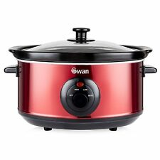 Swan SF17020ROUN Slow Cooker - 3.5 L in Rouge Red Brand New