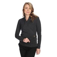 Kate & Mallory Two-Ply 100% Cashmere Long Sleeved Buckle Detailed Faux Wrap Top