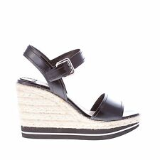 PRADA women shoes Black spazzolato leather wedge sandal with ankle strap