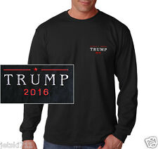 Donald Trump 2016 EMBROIDERED Republican Long Sleeve Black T-shirt
