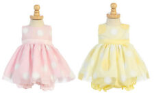 New Baby Girls Infant Polka Dot Dress Pageant Wedding Easter Bloomers Party M681