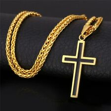 Cross Necklace For Men Jewelry 316L Stainless Steel 18K Gold Plated Religious Ch