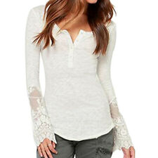Women's Long Sleeve Shirt Casual Lace Blouse Loose Cotton Tops Lady T Shirt