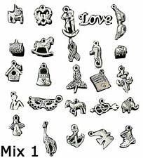 25 - 200pcs SILVER Tibetan CHARMS PENDANTS For Bracelets JEWELLERY Making Chains