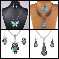Boho Turquoise Crystal Chain Tibetan Silver Exotic Necklace+Earrings Set/ Chain