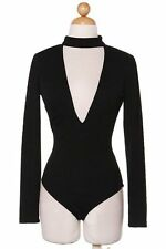Sexy Womens  black High-neck Deep V Long Sleeve Stretch Bodysuit Leotard top
