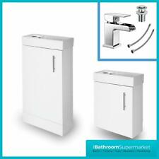 White Gloss Bathroom Vanity Unit Sink Basin Cloakroom Compact Cabinet Basin Tap