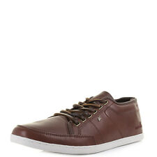 Mens Boxfresh Sparko Leather Russet Taupe Casual Smart Shoes Trainers Uk Size