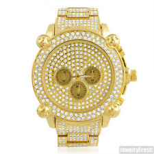 Gold Jumbo Chrono Full Iced Out Big Face Hip Hop Watch