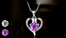925 Sterling Silver  Plated Purple Amethyst Heart Crystal Chain Pendant Necklace