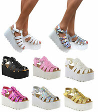 WOMENS LADIES CHUNKY SOLE PLATFORM SUMMER SANDALS WEDGES FLATFORM SHOES SIZE