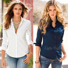 New Womens Casual Shirt Ladies Slim Fit Long Sleeve Cotton Top Fashion Blouse