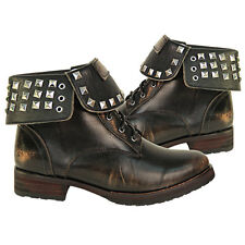Antique Brown Xelement Womens Chrome Stud Lace Up Leather Boots LU8033