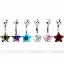 14G CZ Gem Star Steel Barbell Navel Bars Belly Button Ring Body Piercing Jewelry
