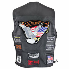 Men's American Live to Ride Biker Leather Vest w/embroidered patches 3037