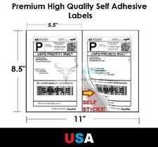 """Premium Self Adhesive 8.5""""x5.5"""" Laser Shipping Labels 2UP 2 per page"""