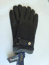 NWT RALPH LAUREN Mens Channel Quilt Black ALL LEATHER Racing Gloves$88 ;Size S-L