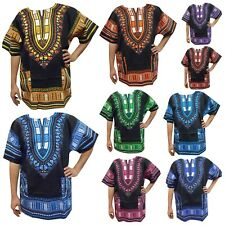 African Dashiki Traditional Boohoo Dressy Shirt Party Top Black Multicolor Shirt