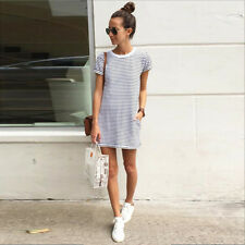 UK Womens Short Sleeve 2016 Spring Fashion Mini Casual Strip Summer beach Dress