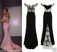 CELEB BLACK WHITE OFF SHOULDER LACE FISHTAIL MAXI PROM PARTY EVENING DRESS 6 18