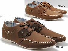 MENS BOAT SHOE LACE SMART PUMP CASUAL LOAFER DECK PLIMS  MOCCASIN BROWN