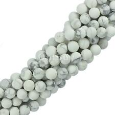 "6mm 8mm White Natural Howlite Turquoise Gemstone Round Loose Beads 15"" Strand"