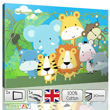 NURSERY CANVAS BABY KIDS BEDROOM JUNGLE ZOO - CANVAS WALL ART DIGITAL PICTURE